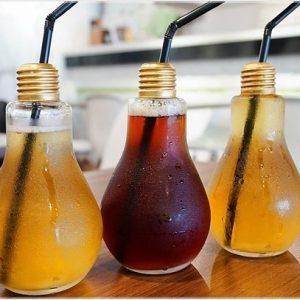 Ly bóng đèn đựng trà sữa & soda 300ml, 400ml